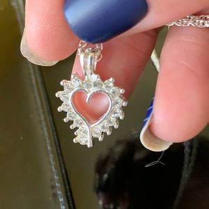 Silver Tone Diamond Lined Heart Pendant Necklace